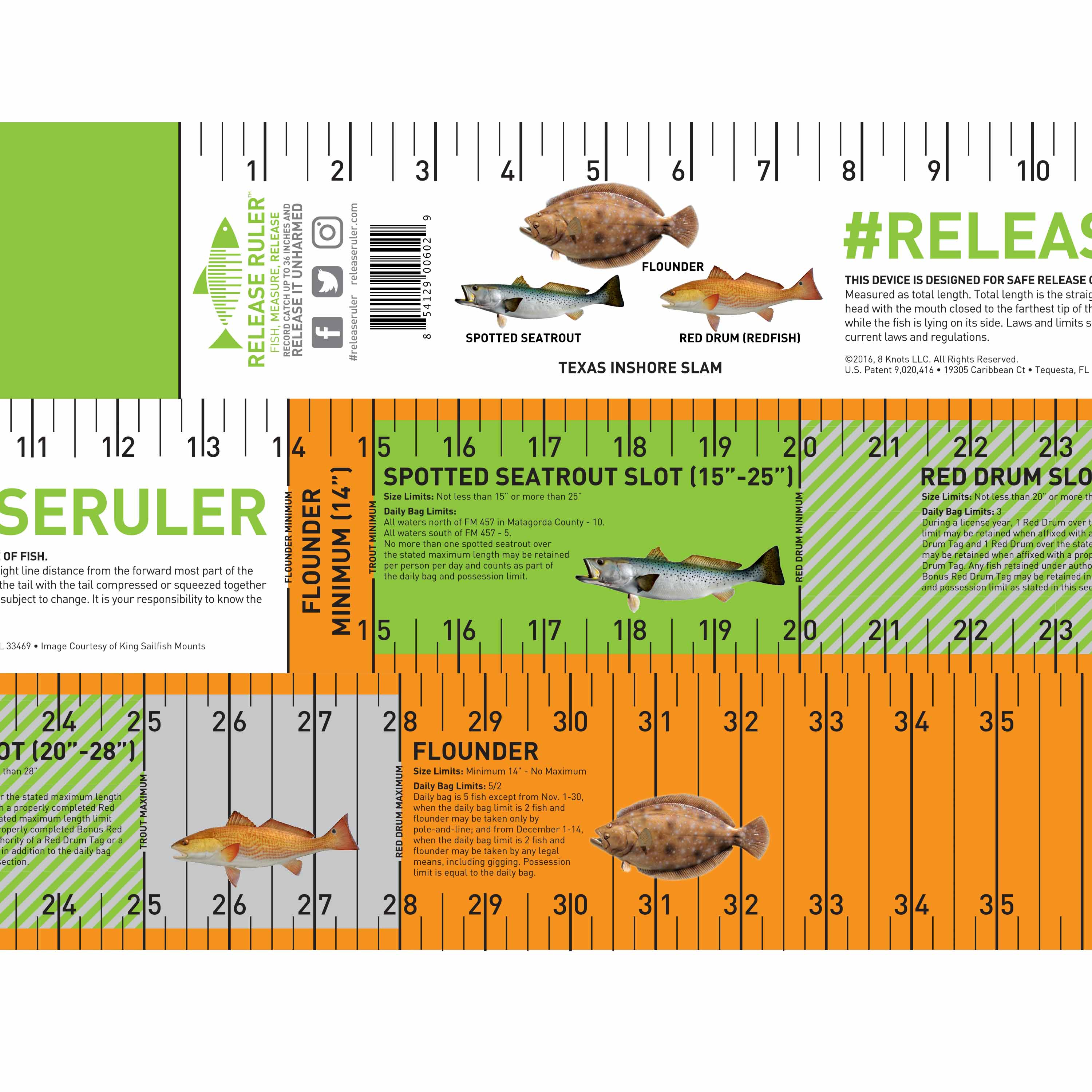 The texas inshore slam release ruler release ruler for Fishing rules in texas